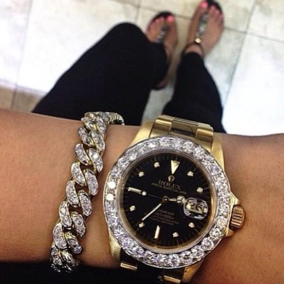 jewels diamonds rolex watch nail accessories watch