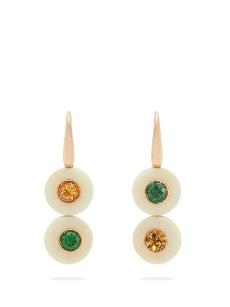 FRANCESCA VILLA Eclipse yellow & green topaz earrings in white