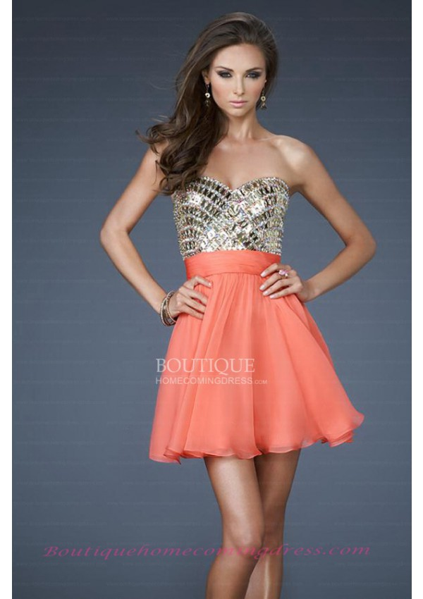 Line short/mini chiffon orange zipper homecoming dress