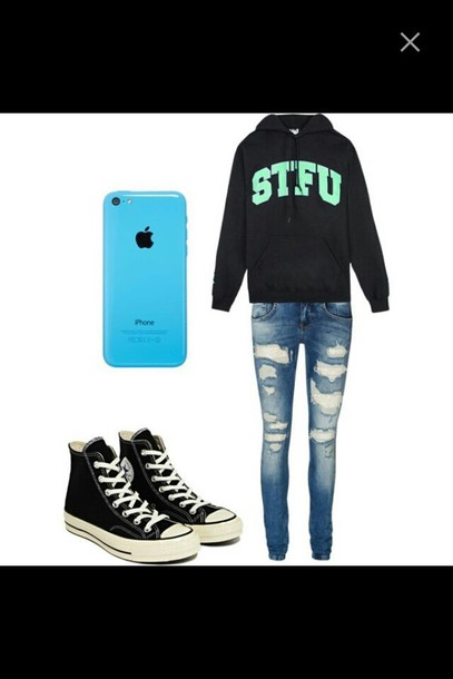 sweater converse ripped jeans light jeans light ripped jeans iphone cover hoodie stfu blue oversized sweater oversized hoodie outfit phone cover