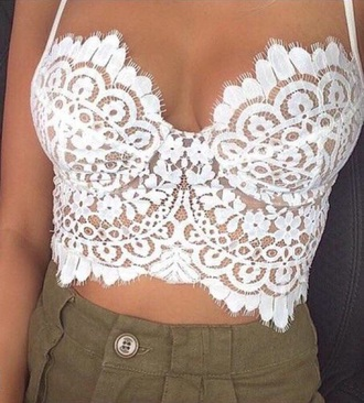shirt white lace crop tops