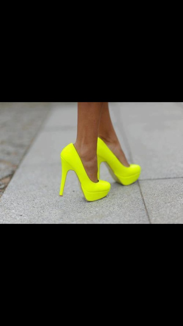 shoes pumps neon yellow