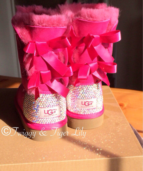 UGG Bailey Bow Hot Pink Ugg Boots with Swarovski Crystal Embellishment - Bling Uggs with Bows and ...