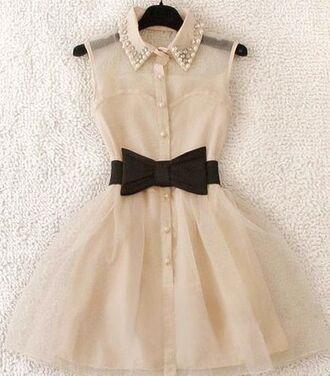 dress white dress cream dress black bow pearl collar sheer top organza pearl white cute dress