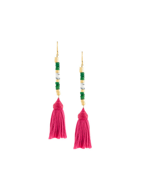 AURELIE BIDERMANN pompon earrings women earrings gold cotton grey metallic jewels