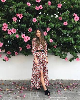 dress mules tumblr maxi dress floral maxi dress long sleeves long sleeve dress fall outfits fall dress shoes belt