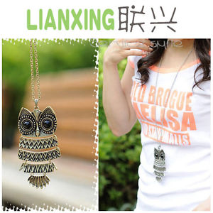Women girls vintage retro big eyes owl long pendant chain sweater necklace