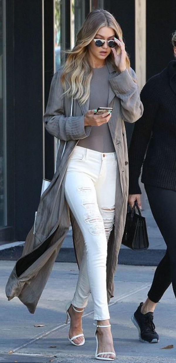 jeans top sandals fall outfits gigi hadid ripped jeans coat tights bodysuit mid heel sandals sunglasses