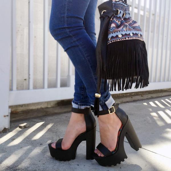 Black Faux Leather Ankle Strap Lug Sole Chunky Heels @ Cicihot ...