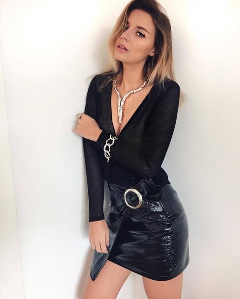 Skirt tumblr mini skirt black skirt vinyl skirt vinyl asymmetrical asymmetrical skirt ...