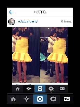 skirt fashion yellow spring ruffle high waisted skirt yellow skirt big ruffles knee length