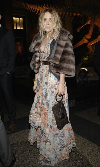 dress maxi dress mary kate olsen fur fur coat coat