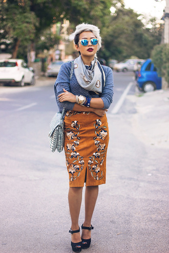 skirt brown skirt black and white bag embroidered skirt embroidered midi skirt suede skirt top long sleeves grey top sandals sandal heels high heel sandals black sandals scarf sunglasses blue sunglasses mirrored sunglasses bag shoulder bag
