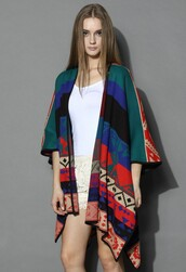 top,chicwish,aztec color block poncho,knitted poncho,fashion and chic
