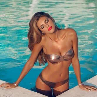 swimwear bikini metallic metal bronze copper metallic swimsuit metallic bikini