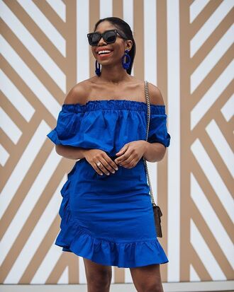 dress blue dress bag mini dress sunglasses earrings