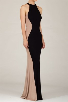 Color block taupe/black hour glass maxi dress