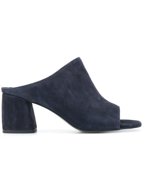 Rebecca Minkoff open women sandals leather blue suede shoes