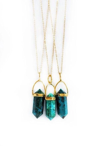 jewels necklace stone gold green opal
