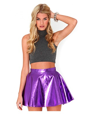 ASOS Fashion Finder | Kitty Metallic Skater Skirt In Purple