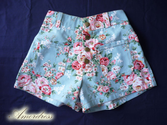 High waist shorts floral shorts blue with pink floral by amordress