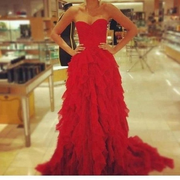 2014 New Design Elegant Organza Ruffle A Line Lace Up Back Sweetheart Neckline Red Prom Dress-in Prom Dresses from Apparel & Accessories on Aliexpress.com