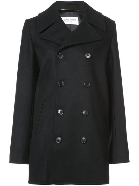 Saint Laurent coat double breasted women cotton black wool