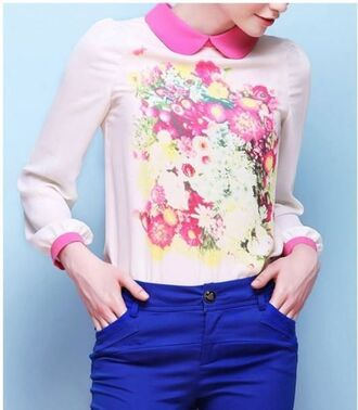 blouse pink blouse pink floral blouse floral shirt long sleeves gathered cuffs chiffon blouse pink chiffon www.ustrendy.com