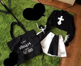 skirt shirt black goth gothic lolita outfit cross white bag