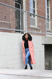 locks and trinkets,blogger,coat,jeans,shoes,pink coat,ankle boots,black top