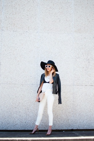 bam it's joanne blogger hat spring outfits skinny pants cat eye floppy hat