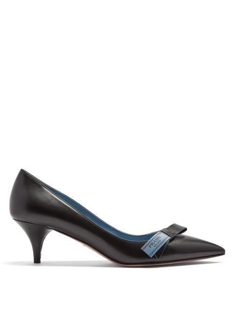 heel bow embellished pumps leather black shoes