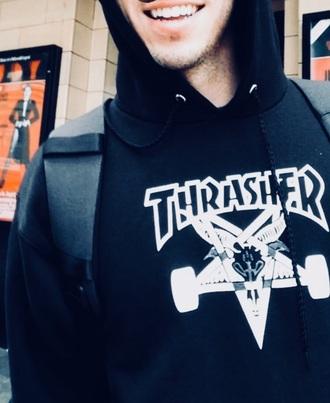 sweater thrasher skateboard thrasher hoodie skater black hoodie sweatshirt trasher t shirt blue white grey menswear mens t-shirt