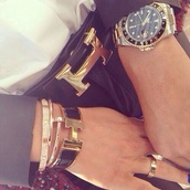 jewels,watch,gold,chique,hermes,belt,bracelets,classy