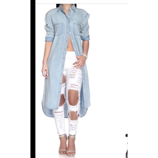 blouse denim long light blue cute top