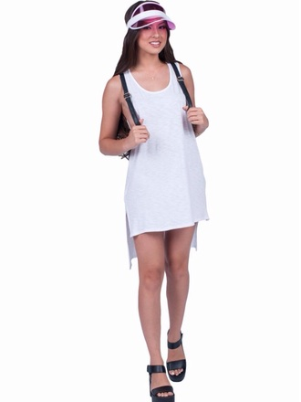 dress white hi low high low dress