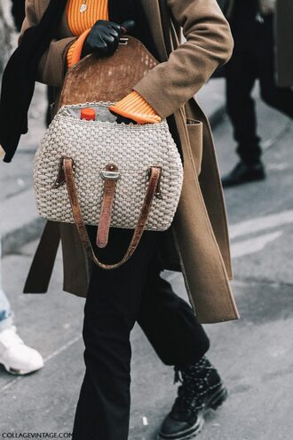 coat tumblr fashion week 2017 streetstyle orange orange sweater sweater bag white bag camel camel coat pants black pants flare pants boots black boots scarf leather gloves gloves