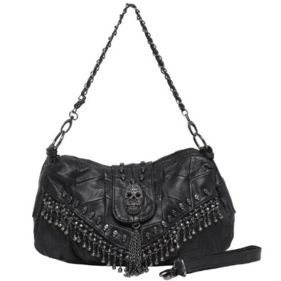 Amazon.com: MG Collection PARKIN Black 3D Skull Studded Fringe Beads Lambskin Leather Purse: Shoes