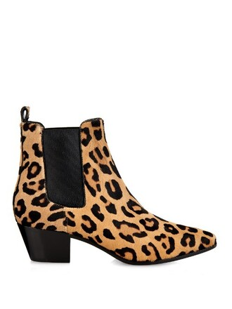 hair boots chelsea boots print shoes