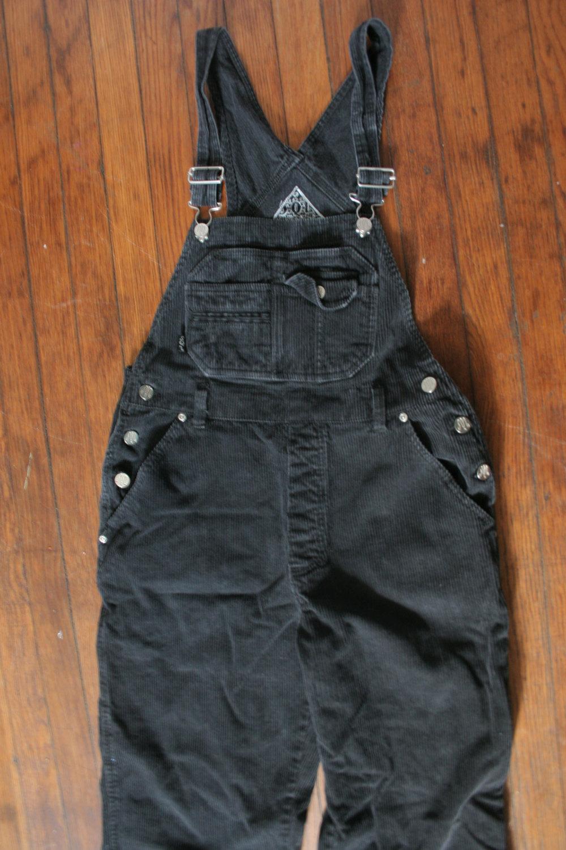 Womens 90s black corduroy grunge bib overalls/ womens overalls / unisex black corduroy overalls