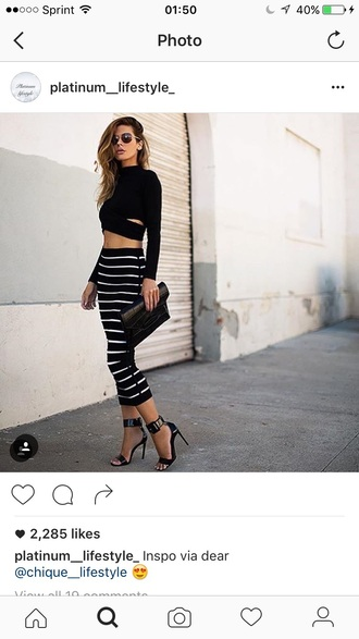 crop tops long sleeves black top clutch black and white stripes striped skirt bodycon skirt sandals black heels
