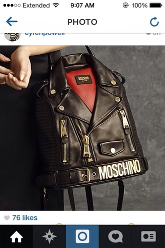 bag moschino designer leather jacket handbag leather