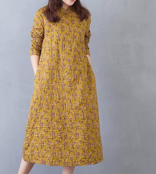 dress floral dress yellow dress