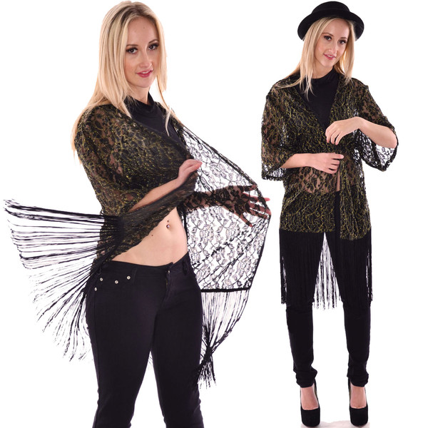 blouse fancy cardigan top cardigan kimono lace kimono fringed top Pop Couture black and gold top