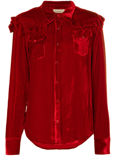 Laneus shirt long women silk red top