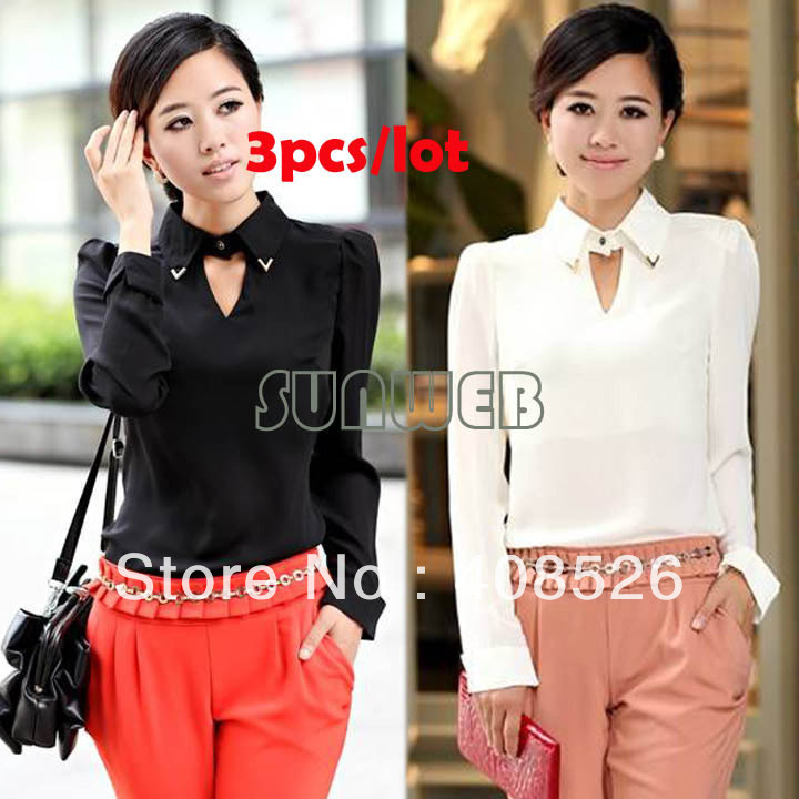 3Pcs/lot Hot sale Women Regular Girl OL Lapel Chiffon Tops Shirt Long Sleeve Blouse White&Black 2 colors 18714-in Blouses & Shirts from Apparel & Accessories on Aliexpress.com