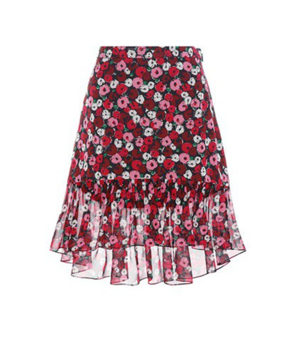 Saint Laurent Floral-printed Silk Skirt in pink