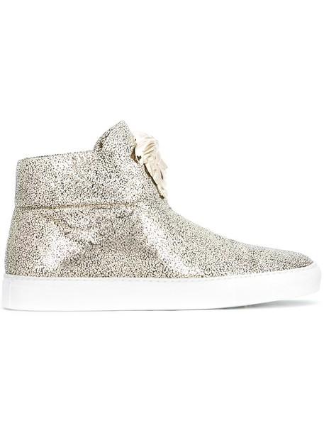 VERSACE women sneakers leather grey metallic shoes
