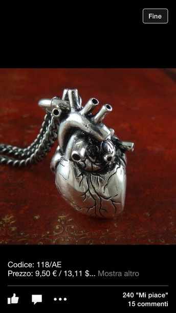 jewels necklace heart argent hair accessory big necklace human heart necklace