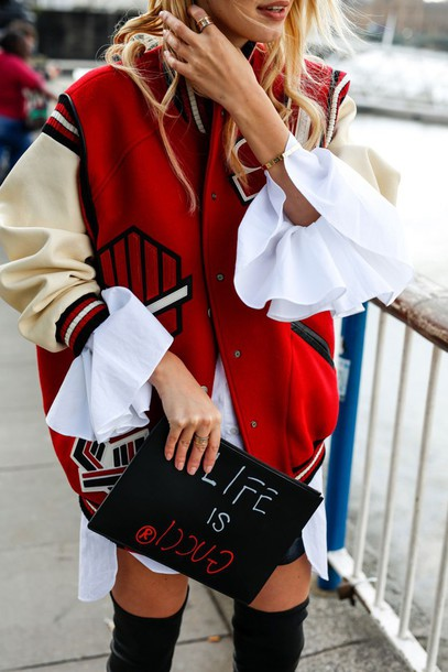 jacket tumblr red jacket baseball jacket teddy jacket bomber jacket bag pouch printed pouch customized quote on it shirt white shirt college college jacket gucci bag leather pouch ruffled shirt ruffle oversized